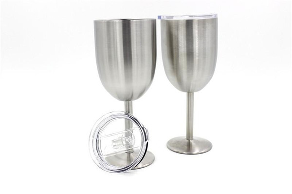 Cups Party Stainless Colored Tumber SS Colors 10oz Wine Glass Double Wall Insulated Metal Goblet With Lid Wine Mugs