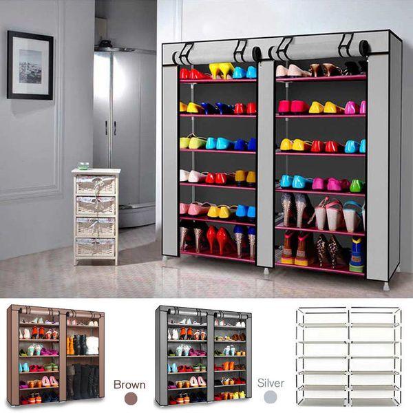 DIY Shoe Rack 2 Doors Cover 7 Tier Shoes Cabinet Storage Organizer Brown/SILVER