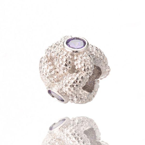 Bulk Sale Bloom Charm Fine Silver Jewelry Beads Big Hole Beads Fit Pandora Bracelet ICPD055 Size 9.9*11.6 mm