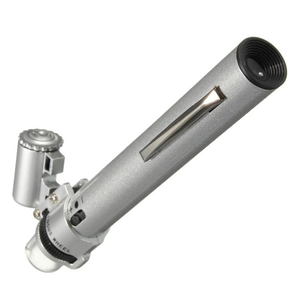 Silber 100X Mikroskop für Pocket LED Licht Schmuck Lupe 10X Objektiv Lupe Glas Uhr Repair Tool