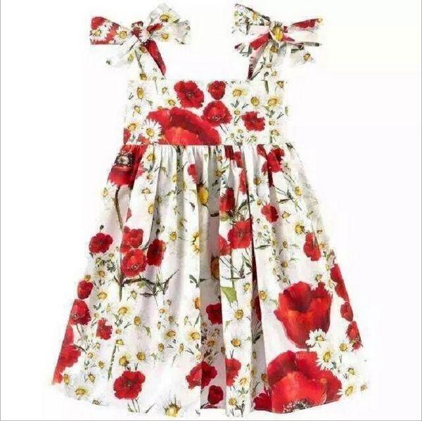 Retail 2017 New Summer Girls Floral Suspender Dress Girl Flower Printed Princess Dresses Kids Sleeveless Vest Dress Children Cotton Skirts