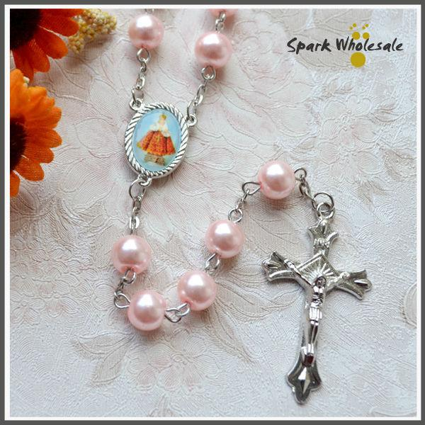 Free Shipping Religious Gifts Girl's Pink Pearl Rosary Catholic Glass Rosary Necklace Saint Picture Cross Rosary Holy Baptism Favors