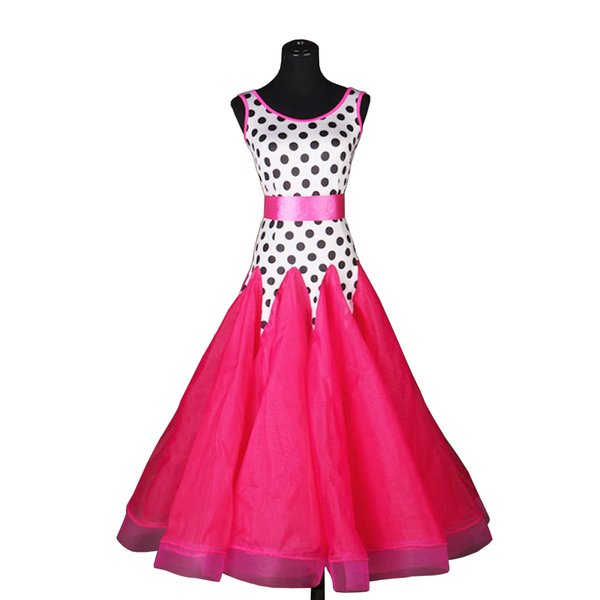 Standard Ballroom Dress Ballroom Dance Competition Dresses Waltz Dress Tango D0188 White with Dot Waist Belt Big Sheer Hem
