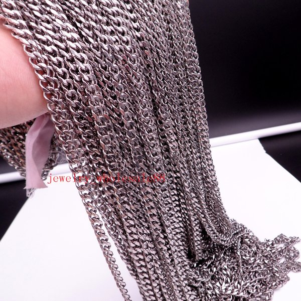 Large wholesale 100meter Lot Silver TOne Stainless steel jewelry finding smooth thin 5mm Smooth Curb chain DIY Necklace Bracelet