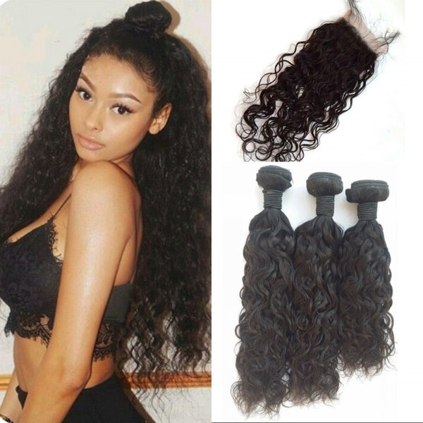 Brazilian Virgin Hair 3 Bundles with Closure Natural Color 10-26 inch Water Wave Lace Closure with Human Hair Bundles FDSHINE