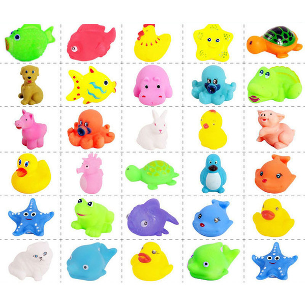 Baby Bath Toys Water Floating Dolls Animal Cartoon Yellow Ducks Starfish Children Swiming Beach Rubber Toy Kids Gifts fast shipping