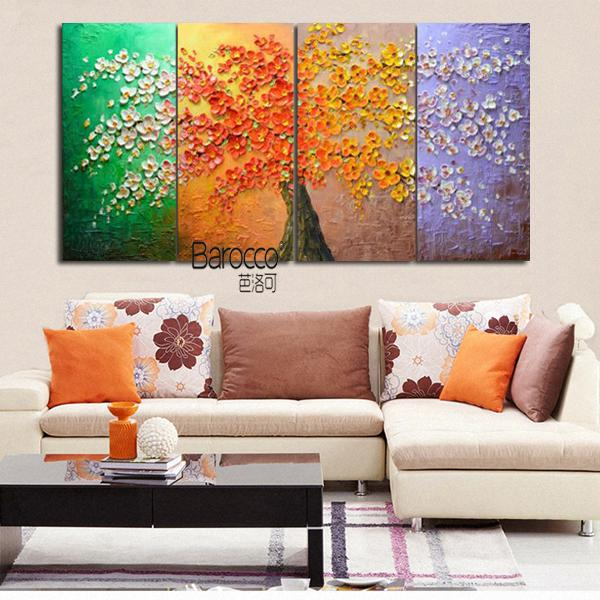 4 Pieces Color Flower Tree Painting Hand Painted Scenery Oil Painting on Canvas Modern Home Decoration
