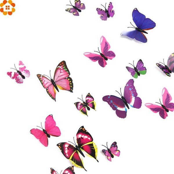 New Arrival!120PCS/Set DIY 3D PVC Magnet Butterfly Wall Stickers For Home Garden Decoration/Kids Rooms/Wedding Party Decorations