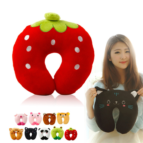 top popular Wholesale- Fast shipment strawberry Office noon break U-shaped Plush Pillow cute Travel Pillow Cartoon Animal Car Headrest 2019