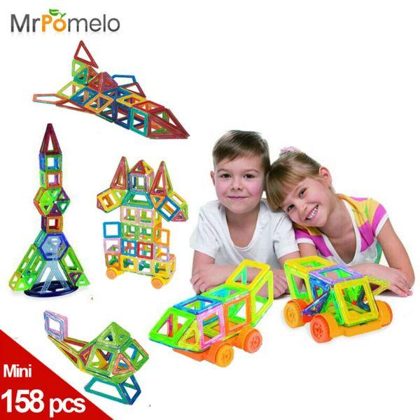 Mini 158pcs/lot Magnetic Construction Models Building Blocks Toys DIY 3D Magnetic Designer Learning Educational Bricks Kids Toys