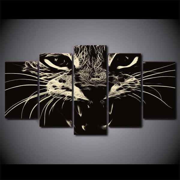 5 Pcs/Set Framed HD Printed Cat Group Painting wall art room decor print poster picture canvas Free shipping/ny-1251