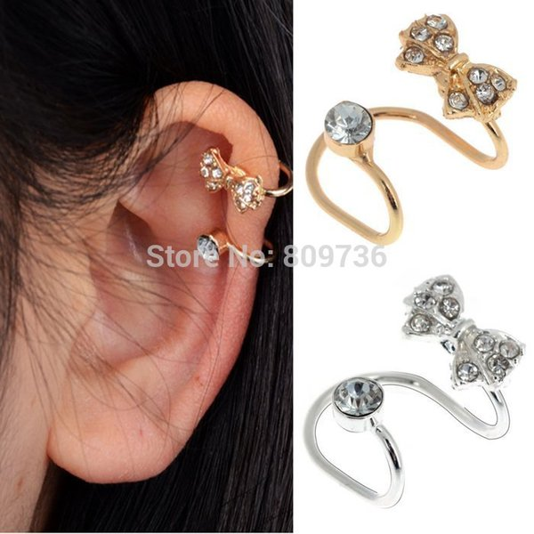 1PC New Crystal Rhinestone Bow Ear Cuff Clip Sweep Up Warp Cuff Earring No Piercing Gold/Silver Tone Women Jewelry Drop Free