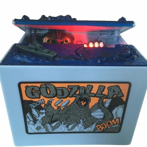1 Stück Godzilla Monster Dinosaurier Moving Musical Elektronische Chirldren Münze Geld Sparschwein Box