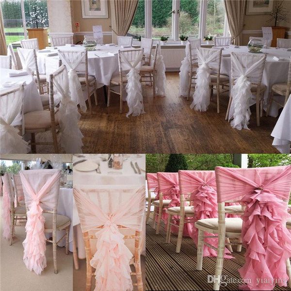 2017 Link For Cream Organza Ruffles With Pink Ribbon Romantic Beautiful Chair Sash Chair Covers Wedding Decorations Supplies