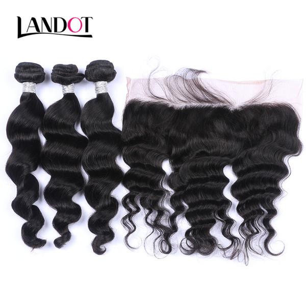 Ear to ear lace frontal clo ure with 3 bundle brazilian loo e wave curly virgin peruvian indian malay ian wavy human hair weave clo ure