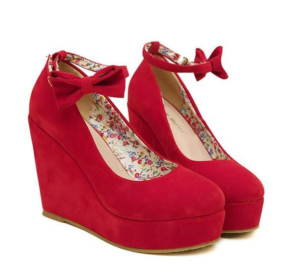Vivi Lena bowtie plarform wedges womens high heel red wedding shoes 2 colors size 35 to 39