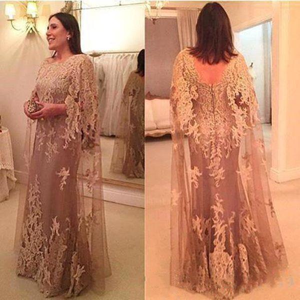 2018 Yeni Vintage Aplike Dantel anne Ile Gelin Elbise Cape Kılıf Backless Elbiseler Akşam Aşınma Kat Uzunluk Düğün Konuk Elbise