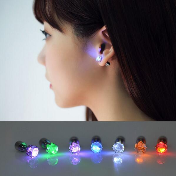 best selling 100 Pair Light Up Toys LED Earrings Studs Flashing Blinking Stainless Steel Party Decor 2017 Fashion Accessories Unisex for Girls