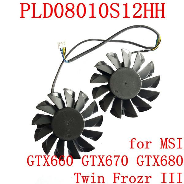 Оптово НОВАЯ ВЛАСТЬ LOGIC PLD08010S12HH 74мм 52мм 12V 0.35A 4Pin для MSI GTX660 GTX670 GTX680 Twin Frozr III вентилятора видеокарты
