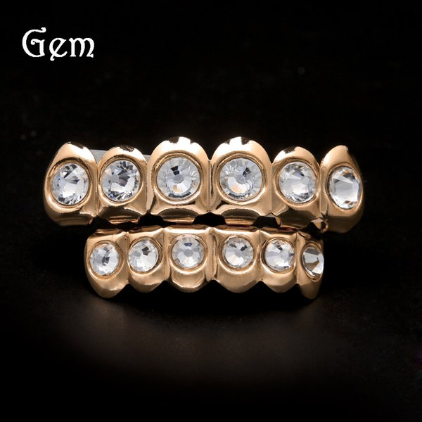 Luxury Hip Hop Teeth Jewelry Gems Hiphop Grillz For Men Cool Gold Plated Teeth Brace Halloween Gift Body Jewelry 207 Hot