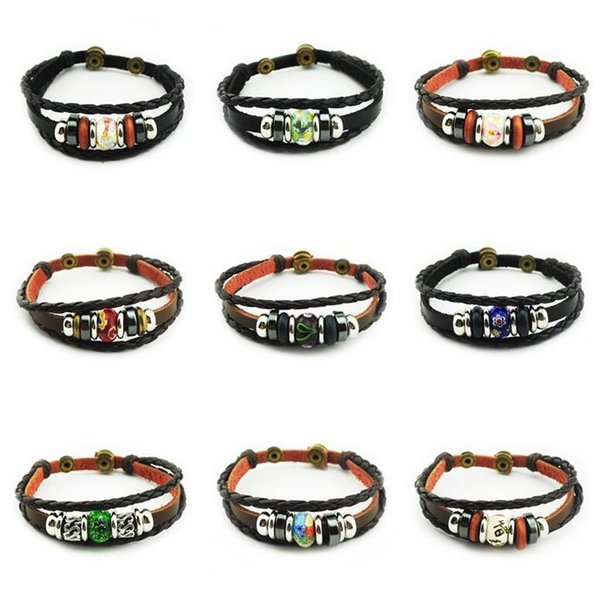 Good A++ Explosion leather cowhide metal buckle wood beads beaded leather bracelet FB227 mix order 20 pieces a lot Charm Bracelets