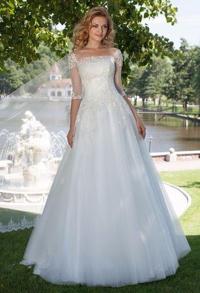 1/2 sleeves 2018 desginer square neck tulle Wedding Dresses Illusion ball Bridal Gown Bride dresses