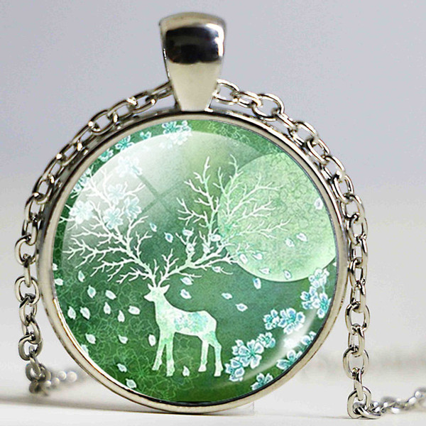 2017 Classic Deer Art Picture Statement Necklace Silver Color Jewelry Bronze Glass Collares for Women Summer Fine Jewelry