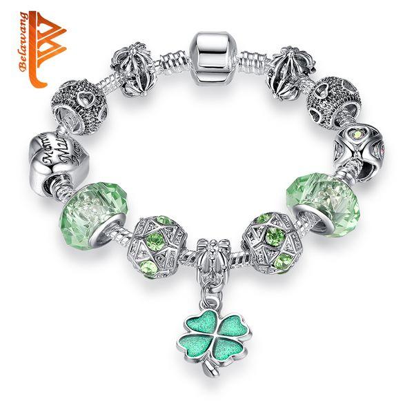 BELAWANG Silver Plated Women Charm Beads DIY Bracelet Jewelry Green Murano Glass Beads Lucky Clover Pendant Beads Bracelets&Bangles