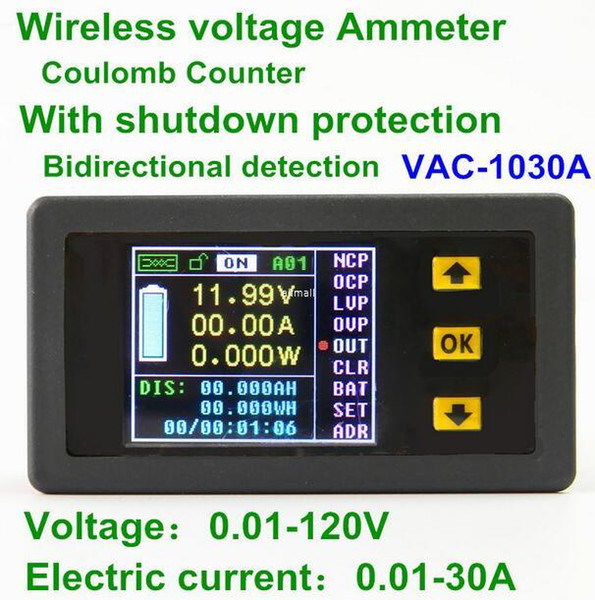 Freeshipping VAt1030A Digital Ammeter Voltmeter Coulomb Counter Wireless Bi-directional Voltage Current Tester Power Meter DC 0.01-100V