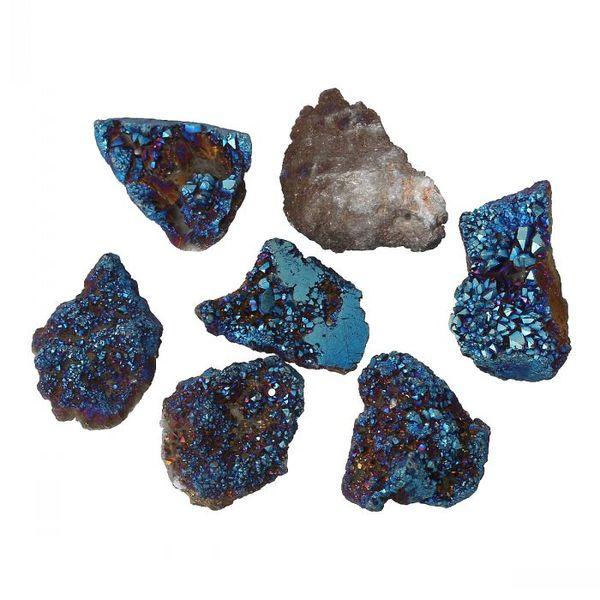 Wholesale- 8SEASONS Created Agate Charm Pendants Irregular Druzy Gem Stone Dark blue Plated 3.8cm x 2cm-3.1cm x 2cm,2 PCs