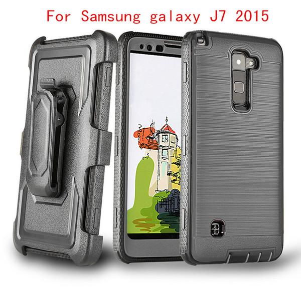 For Samsung galaxy J7 2015 J700 ON5 G550 J710 J7 2016 Hybrid Robot Armor brushed Case Belt Clip Holster Combo Cover OPP Package