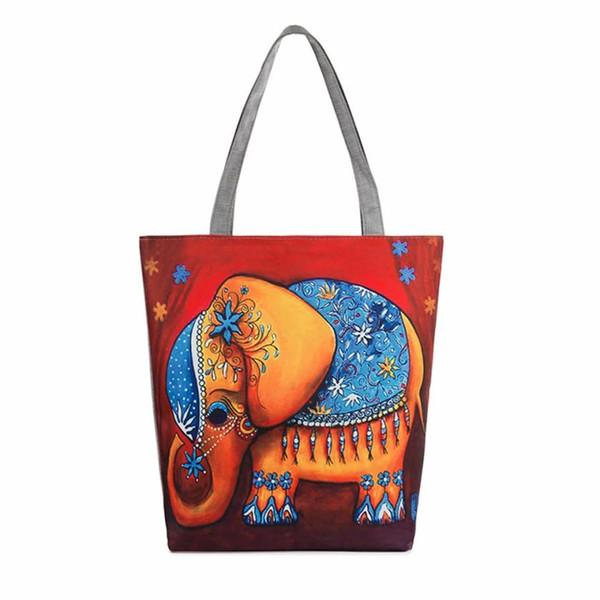 All'ingrosso- 2016 Borsa shopping donna Stampa elefante Canvas Tote Borse da spiaggia casual Borse a tracolla da donna bolsa feminina para mujer # 25