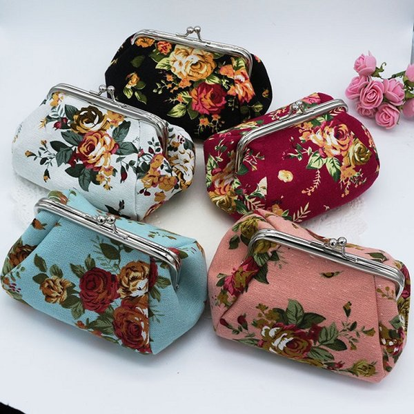 15pcs New Fashion canvas rose flower clutch coin purse key holder wallet hasp small coin change gifts bag jewelry pouch xmas present handbag