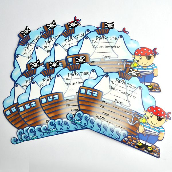Wholesale Free Shipping 24PCS LOT Pirate Series Party Invitation Cards Childrens Birthday