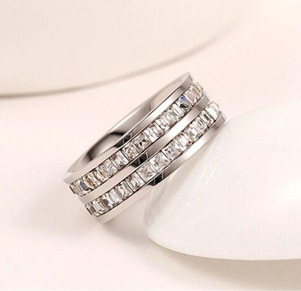 Silver with double row diamond