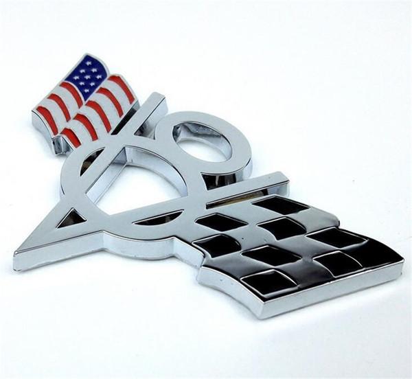 3D Metal EE. UU. EE. UU. Bandera de América V8 Emblem Styling Sticker Calcomanía Universal Badge Fit para Ford Chevrolet Dodge Jeep etc.