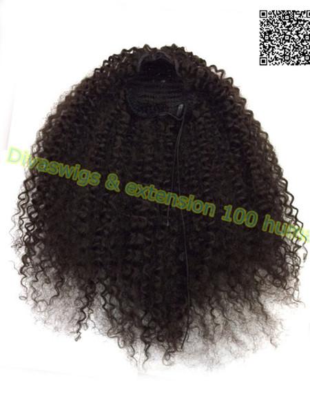 Kinky Curly Ponytail natural hair drawstring Kinky Curly Ponytail Clip in kinky Curly mongolian Human hair Drawstring Ponytail 120g 4colors