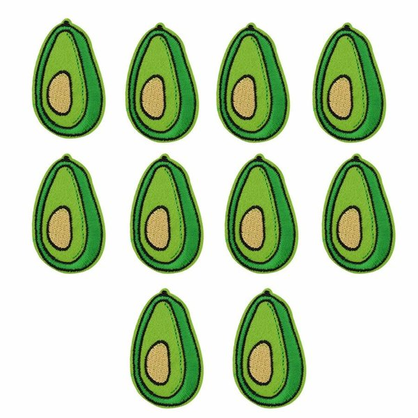 Brand New 10pcs Green Avocado Patches Badge for Clothing Iron Embroidered Patch Applique Sew On Patches Sewing Accessories For DIY Clothes
