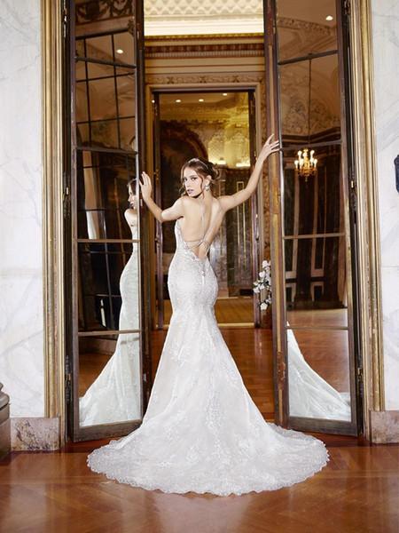 correa de cuentas y vestidos de novia de encaje con espalda baja 2017 spagetti sexy vestidos de novia de sirena sin respaldo en forma de vestidos de novia de la llamarada