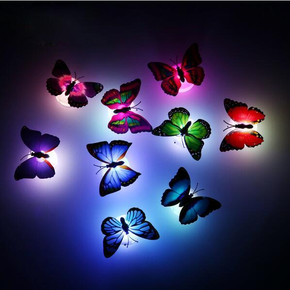 Nuovo arrivo Beautiful Butterfly LED Night Light Lampada con ventosa per la decorazione di nozze di Natale Night Lamp S