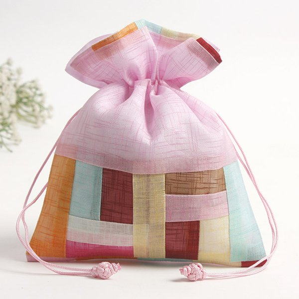 Patchwork Striped Large Drawstring Gift Pouch Travel Jewelry Makeup Packaging Bag Lavender Spice Sachet Candy Tea Storage Pocket 2pcs/lot