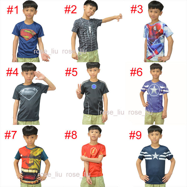 15 Style Kids Superhero 3D Short sleeved T-shirt Avengers Captain America Iron Man shirt sports quick dry T shirt children clothes B