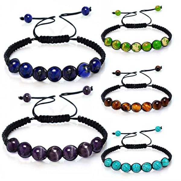 5 Colors 8mm Charm Yoga Reiki Prayer Natural Stone Bracelet Good Luck Men and Women Oil Diffuser Bracelet Christmas Gift B572S