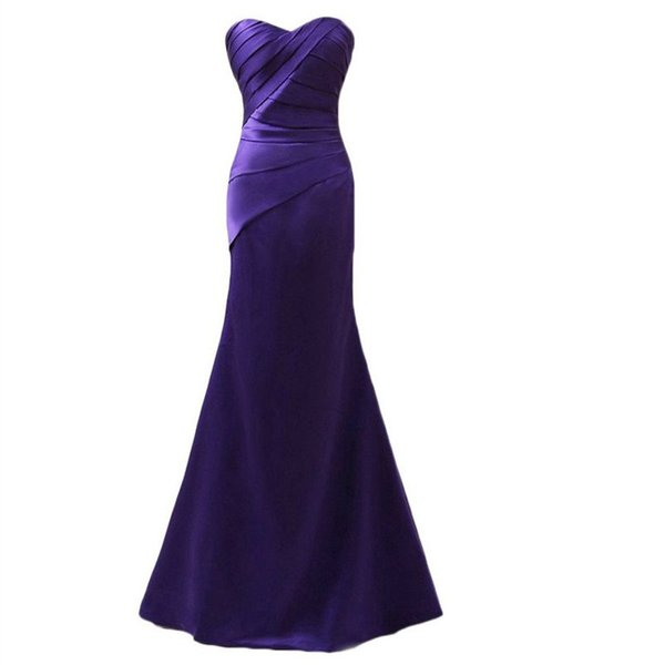 Real Photo Mermaid Long Mother of the Bride Dresses Pleated Satin Sweetheart Floor Length Ladies Fomal Gowns Custom Size