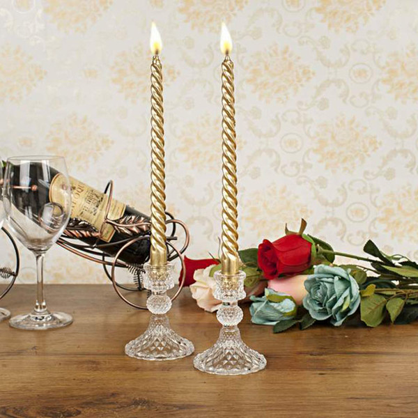 20Pcs Crystal Glass Candle Holder Stand Wedding Tabletop Candelabrum Centerpiece Pineapple Candlestick Sets H/10cm