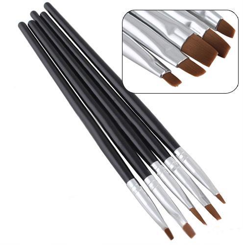Wholesale- Hot 5PCS/set Nail Art Salon Acrylic UV Gel Salon Pen Flat Brush Kit Dotting Tool For Decorations 67T8