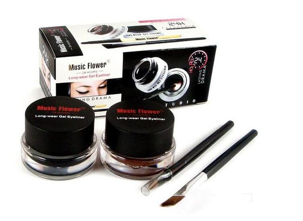 Müzik Çiçek Siyah + Kahverengi Iki renkli Jel Eyeliner Leke-Geçirmez Su Geçirmez Göz Kalemi Eyeliner Eyeliner Jel Makyaj Kozmetik + Fırça M007