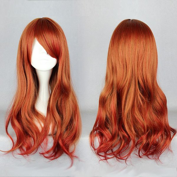 MCOSER Free Shipping 65cm Long Colorful Loose Wave Orange Red High Quality Synthetic Lolita Wig