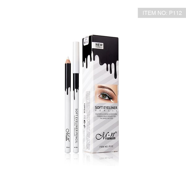 MENOW Brand Makeup Silky Wood Cosmetic White Eyeliner Pencil Silkworm White Highlight Pen 12pcs/set Waterproof Eyeliner P112 DHL