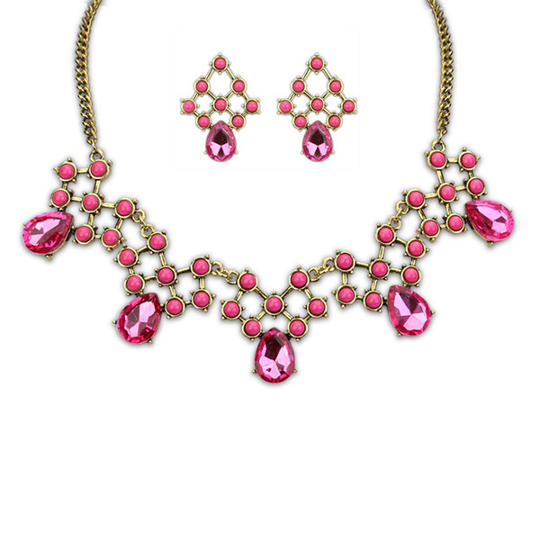 Fine Jewelry sets European fashion hot all-match New Retro drop gem necklace earrings set wholesale jewelry boutique